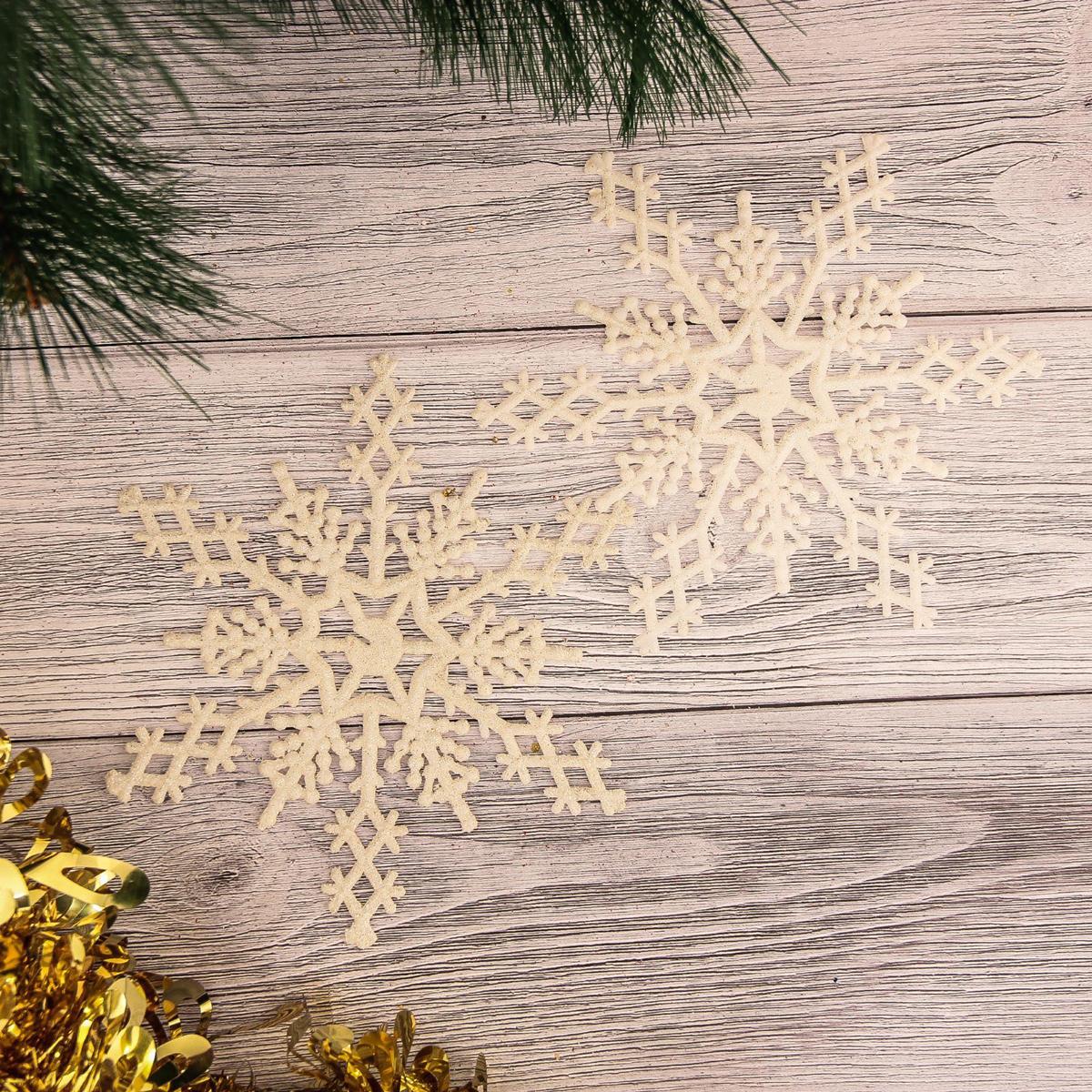 Набор новогодних подвесных украшений Снежинка, цвет: белый, диаметр 15 см, 2 шт2372118Набор новогодних подвесных украшений отлично подойдет для декорации вашего дома и новогодней ели. С помощью специальной петельки украшение можно повесить в любом понравившемся вам месте. Но, конечно, удачнее всего оно будет смотреться на праздничной елке.Елочная игрушка - символ Нового года. Она несет в себе волшебство и красоту праздника. Такое украшение создаст в вашем доме атмосферу праздника, веселья и радости.