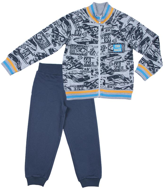 Комплект для мальчика Cherubino: куртка, брюки, цвет: серый меланж. CWK 9671 (161). Размер 104CWK 9671 (161)Трикотажный комплект для мальчика, выполнен из трикотажа с начесом. Куртка набивная, с карманами, с воротником-стойкой, застегивается на молнию. Брюки гладкокрашеные, по низу брючин манжеты.