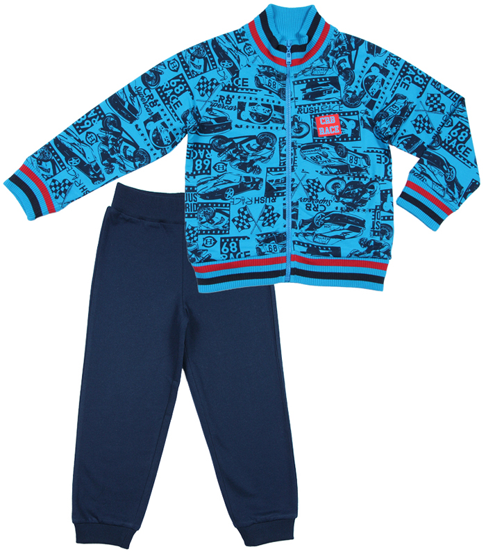 Комплект для мальчика Cherubino: толстовка, брюки, цвет: синий. CWK 9671 (161). Размер 122CWK 9671 (161)Комплект для мальчика Cherubino, состоящий из толстовки и брюк - очень удобный и практичный. Комплект выполнен из трикотажа с начесом, благодаря чему он необычайно мягкий и приятный на ощупь, не раздражают нежную кожу ребенка и хорошо вентилируются, а эластичные швы приятны телу малышки и не препятствуют ее движениям. Толстовка с воротником-стойкой и длинными рукавами застегивается на пластиковую застежку-молнию. Рукава дополнены широкими трикотажными манжетами, не стягивающими запястья. Понизу также проходит широкая трикотажная резинка. Брюки прямого покроя на талии имеют широкую эластичную резинку, благодаря чему они не сдавливают животик ребенка и не сползают. Понизу штанины дополнены широкими трикотажными манжетами. Оригинальный дизайн и модная расцветка делают этот комплект незаменимым предметом детского гардероба. В нем ваш ребенок всегда будет в центре внимания!