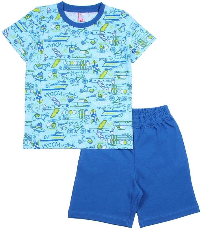 Комплект для мальчика Cherubino: футболка, шорты, цвет: голубой. CAK 9666. Размер 98CAK 9666Комплект для мальчика Cherubino состоит из футболки шорт, выполненных из 100% хлопка. Футболка с короткими рукавами и круглым вырезом горловины оформлена принтовым рисунком. Горловина обработана притачной бейкой из рибаны с лайкрой. Шорты с боковыми карманами имеют притачной пояс со вставленной внутрь резинкой.