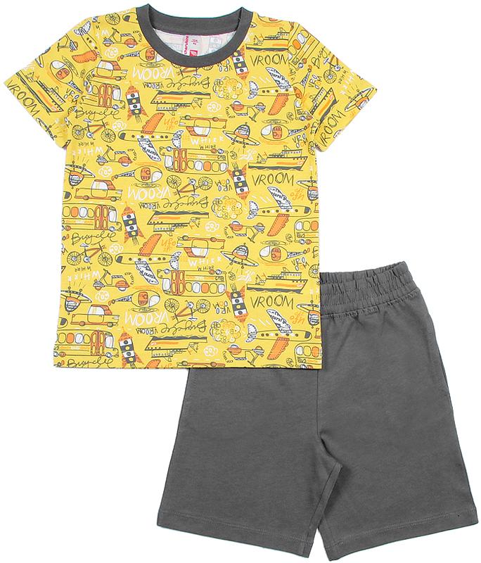 Комплект для мальчика Cherubino: футболка, шорты, цвет: желтый. CAK 9666. Размер 116CAK 9666Комплект для мальчика Cherubino состоит из футболки шорт, выполненных из 100% хлопка. Футболка с короткими рукавами и круглым вырезом горловины оформлена принтовым рисунком. Горловина обработана притачной бейкой из рибаны с лайкрой. Шорты с боковыми карманами имеют притачной пояс со вставленной внутрь резинкой.