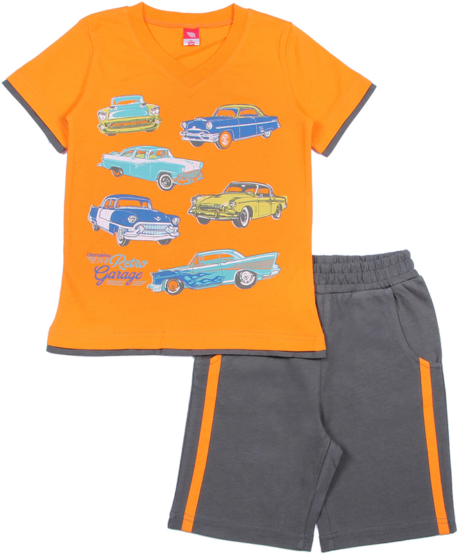 Комплект для мальчика Cherubino: футболка, шорты, цвет: оранжевый. CAK 9665. Размер 104CAK 9665Комплект для мальчика Cherubino состоит из футболки и шорт. Футболка с короткими рукавами и V-образным вырезом горловины оформлена принтом. Горловина обработана притачной бейкой из рибаны. Шорты с боковыми карманами декорированы контрастными лампасами вдоль боковых швов. Притачной пояс дополнен вставленной внутрь резинкой.
