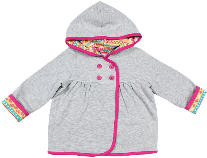 Куртка для девочки Cherubino, цвет: серый меланж. CWB 61692 (158). Размер 80CWB 61692 (158)Куртка для девочки Cherubino выполнена из трикотажного материала с начесом. Модель с отрезной кокеткой и капюшоном застегивается на две пуговицы. Капюшон и отвороты на рукавах выполнены из набивного трикотажа.