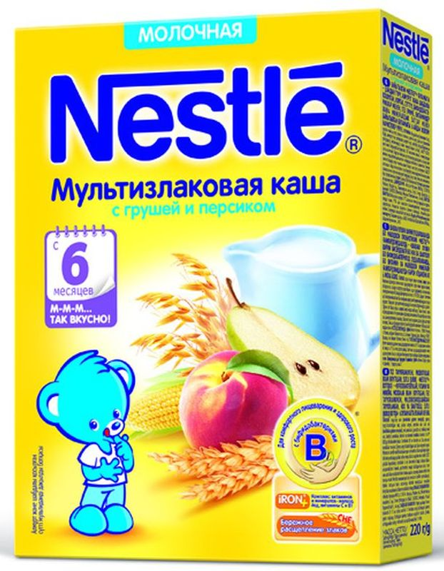 Nestle мультизлаковая с грушей и персиком каша молочная, 220 г nestle молочко nestle nestogen 3 нестожен 700 г