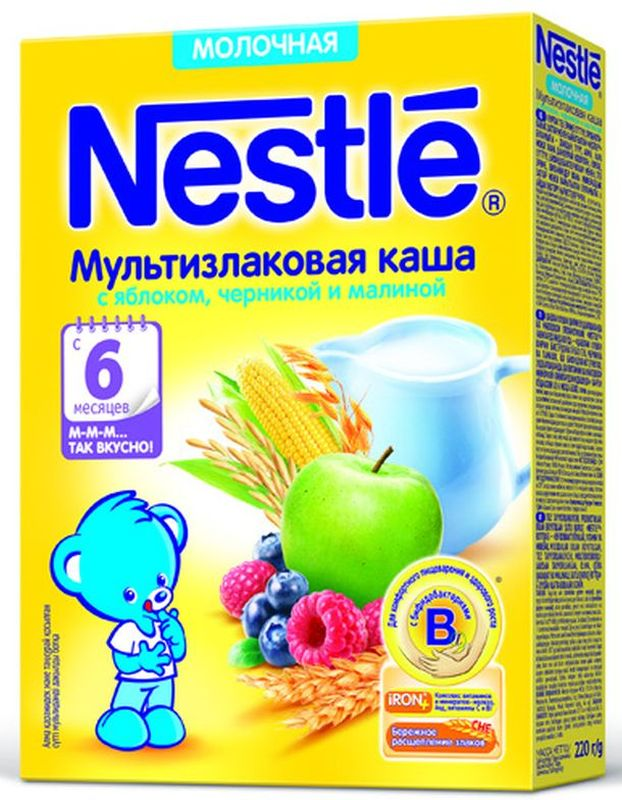 Nestle мультизлаковая с яблоком, черникой и малиной каша молочная, 220 г