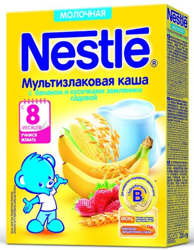Nestle мультизлаковая с бананом и земляникой каша молочная, 220 г -  Детское питание