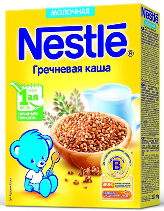 Nestle Гречневая каша молочная, 220 г12343020Каша молочная Nestle гречневая с 4 месяцев 220 г. Молочная гречневая каша приготовлена с использованием особой технологии бережного расщепления злаков СНЕ. Благодаря этому в продукте появляется естественный сладкий вкус, каша лучше усваивается и имеет