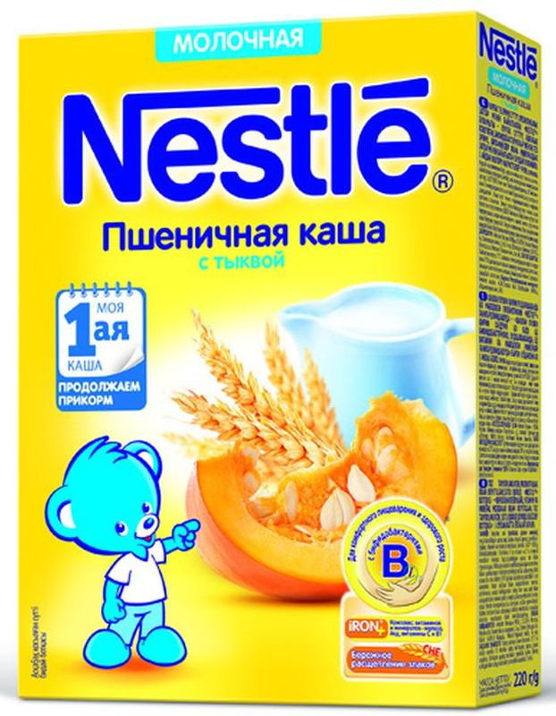 Nestle Пшенная с тыквой каша молочная, 220 г12343023Каша молочная Nestle пшеничная с тыквой с 5 месяцев 220 г. Молочная пшеничная каша с тыквой приготовлена с использованием особой технологии бережного расщепления злаков СНЕ. Благодаря этому в продукте появляется естественный сладкий вкус, каша лучше усваивается и имеет повышенную пищевую ценность. Каша является полезным сбалансированным прикормом для здоровых детей. Обогащена пробиотиками - живыми бифидобактериями BL. Они способствуют нормализации пищеварения, росту здоровой микрофлоры и укреплению иммунитета, что очень важно в период введения прикорма. Каша содержит комплекс витаминов и минеральных веществ iRON+ для здорового роста и развития.