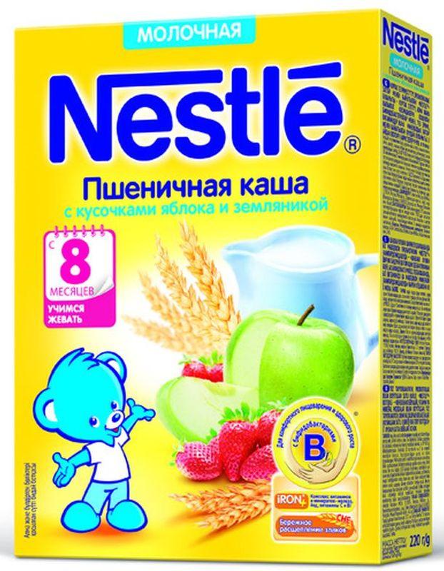 Nestle Пшенная с земляникой каша молочная, 220 г12343024Каша молочная Nestle пшеничная с кусочками яблока и земляникой с 8 месяцев 220 г. Молочная пшеничная каша с кусочками яблока и земляникой приготовлена с использованием особой технологии бережного расщепления злаков СНЕ. Благодаря этому в продукте появляется естественный сладкий вкус, каша лучше усваивается и имеет повышенную пищевую ценность. Каша является полезным сбалансированным прикормом для здоровых детей и отлично подходит для расширения рациона. Обогащена пробиотиками - живыми бифидобактериями BL. Они способствуют нормализации пищеварения, росту здоровой микрофлоры и укреплению иммунитета, что очень важно в период введения прикорма. Каша содержит комплекс витаминов и минеральных веществ iRON+ для здорового роста и развития. Добавление фруктовых кусочков (яблоко и земляника) способствует развитию как вкусовых восприятий малыша, так и жевательных навыков, что очень важно в период постепенного перехода к взрослому меню.