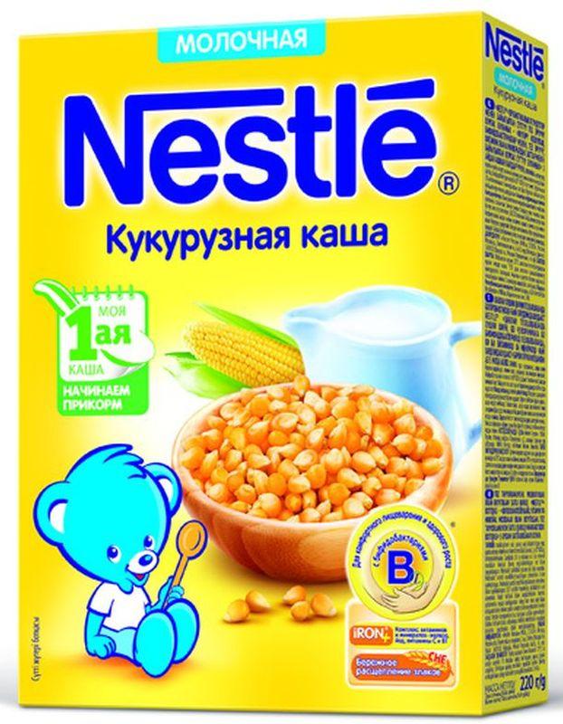 Nestle Кукурузная каша молочная, 220 г каша молочная heinz лакомая пшенично кукурузная персик банан вишенка с 6 мес 200 г