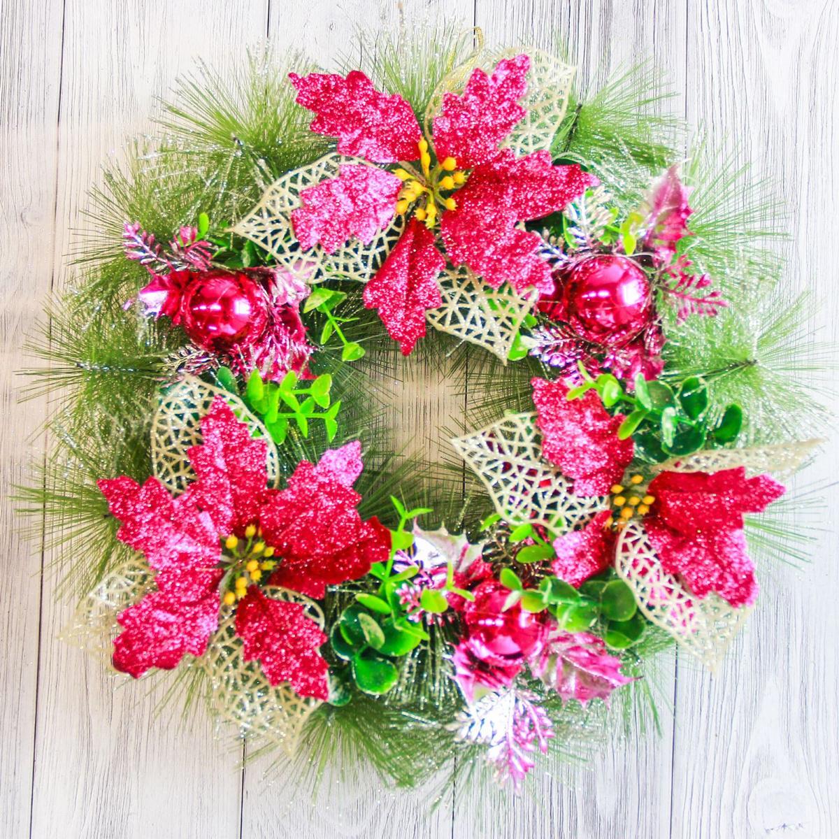 Венок новогодний NoName С малиновыми цветами и шарами, диаметр 30 см2372107Невозможно представить нашу жизнь без праздников! Мы всегда ждем их и предвкушаем, обдумываем, как проведем памятный день, тщательно выбираем подарки и аксессуары, ведь именно они создают и поддерживают торжественный настрой. Это отличный выбор, который привнесет атмосферу праздника в ваш дом!