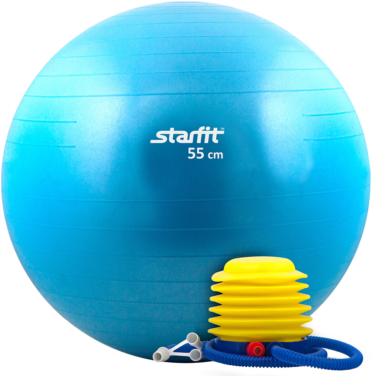 Мяч гимнастический Starfit, антивзрыв, с насосом, цвет: синий, диаметр 55 см эспандеры starfit эспандер starfit es 702 power twister черный 50 кг
