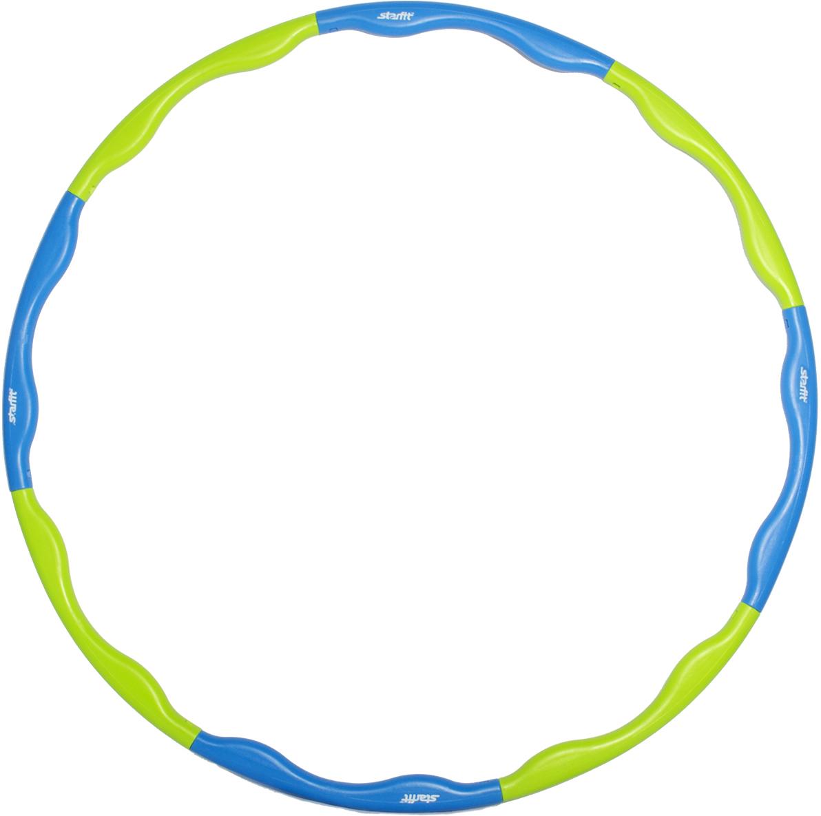 Обруч массажный Star Fit, разборный, цвет: синий, салатовый, диаметр 90 смУТ-00007314Star Fit - это массажный разборный обруч от популярного австралийского бренда. Обруч легко собирается и разбирается. Диаметр регулируется, благодаря чему обруч подходит взрослым и детям. Упражнения с этим обручем сжигают больше калорий, чем с обычным. Улучшается кровообращение, усиливается мышечный тонус, что приводит к более активному сжиганию жира. Массажный обруч развивает координацию движений, гибкость, силу, чувство ритма, артистичность, укрепляет вестибулярный аппарат. Сжигает подкожный жир в проблемных участках тела, улучшает состояние кожи в области талии, живота и бёдер. Нормализует работу кишечника. Тренирует и развивает мышцы рук, плеч, спины и ног. С помощью обруча можно выполнять большое количество упражнений из гимнастики, и упражнений на растяжку. Массажный обруч удобен и прост в использовании. Не требует особых знаний и места для занятий. Достаточно вращать обруч 10-20 минут в день и таким образом фигура изменится в положительную сторону.Как выбрать кардиотренажер для похудения. Статья OZON Гид