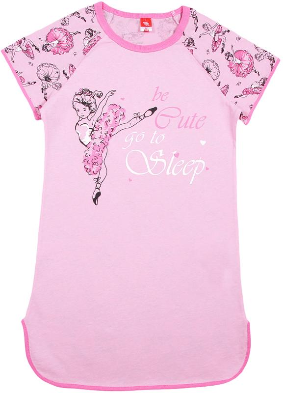 Ночная рубашка для девочки Cherubino, цвет: светло-розовый. CAJ 5320. Размер 134CAJ 5320Ночная рубашка Cherubino для девочки выполнена из мягкого хлопка. Модель свободного кроя, с коротким рукавом-реглан и круглым вырезом горловины. Изделие имеет полукруглый низ и декорировано принтом.