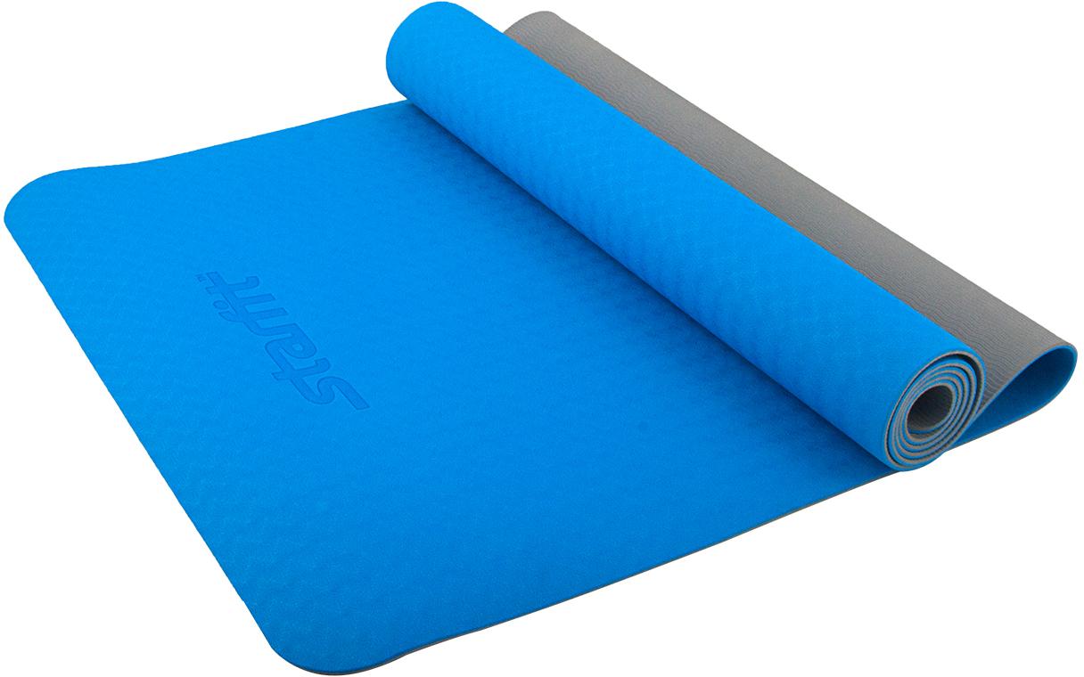 Коврик для йоги Starfit, цвет: синий, серый, 173 x 61 x 0,4 см starfit bk 108 x bike