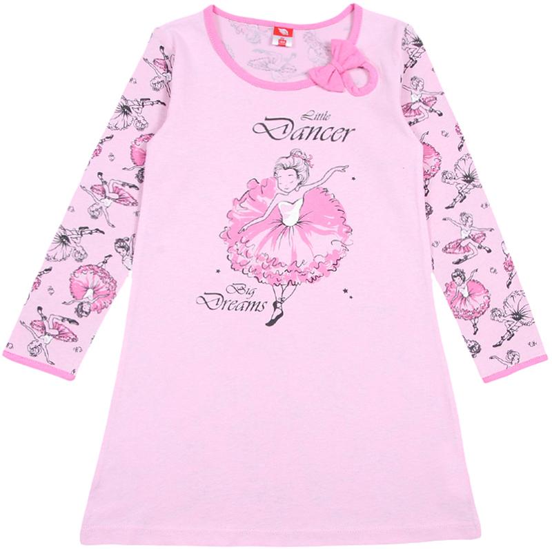 Ночная рубашка для девочки Cherubino, цвет: светло-розовый. CAK 5313. Размер 110CAK 5313Ночная рубашка для девочки Cherubino с длинным рукавом и круглым вырезом горловины выполнена из тонкого трикотажа. Перед выполнен из гладкокрашеного полотна и декорирован принтом, спинка и рукава с набивкой балерины. Вырез горловины оформлен капелькой с бантом.