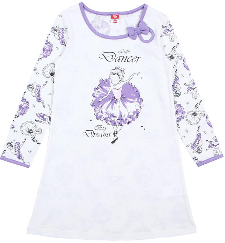 Ночная рубашка для девочки Cherubino, цвет: экрю. CAK 5313. Размер 122CAK 5313Сорочка для девочки, с длинным рукавом, из тонкого трикотажа. Перед выполнен из гладкокрашеного полотна и декорирован принтом, спинка и рукава с набивкой балерины. Вырез горловины оформлен капелькой с бантом.