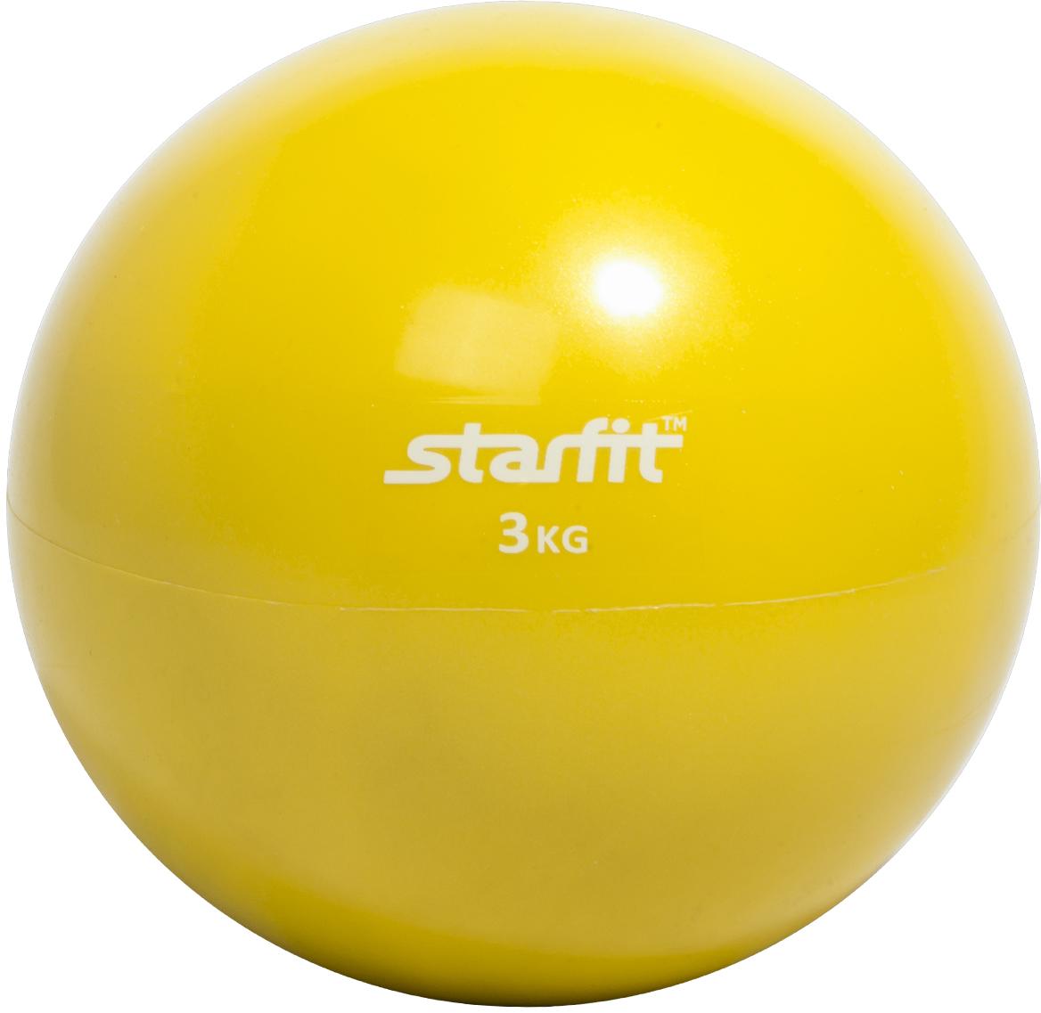 Медицинбол Starfit GB-703, цвет: желтый, 3 кг эспандеры starfit эспандер starfit es 702 power twister черный 50 кг