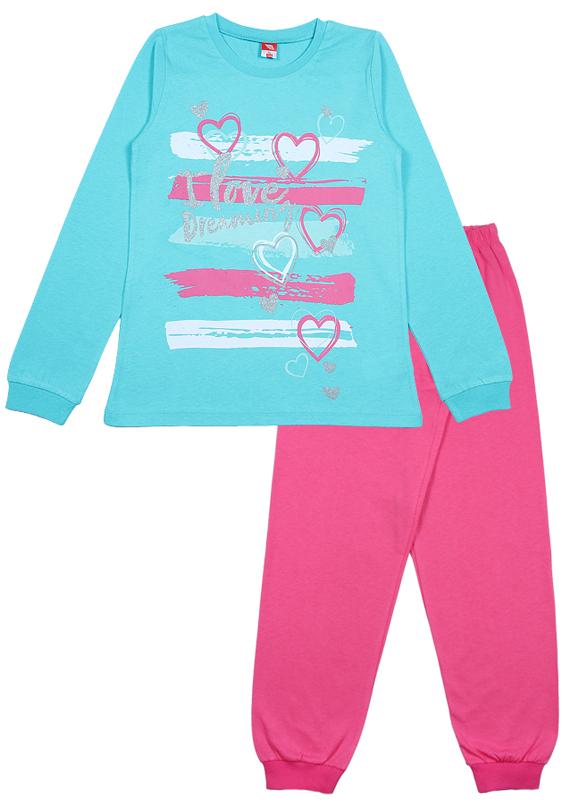 Пижама для девочки Cherubino, цвет: бирюзовый, розовый. CAJ 5315. Размер 152CAJ 5315Пижама для девочки Cherubino состоит из джемпера и брюк контрастного цвета. Пижама из 100% хлопка необычайно мягкая и легкая, не сковывает движения, позволяет коже дышать и не раздражает даже самую нежную и чувствительную кожу ребенка. Джемпер с длинными рукавами и круглым вырезом горловины спереди оформлен принтом. Вырез горловины и манжеты на рукавах дополнены трикотажными эластичными резинками. Брюки прямого кроя на талии имеют эластичную резинку, благодаря чему они не сдавливают животик ребенка и не сползают. Низ брючин дополнен широкими трикотажными манжетами. Пижама станет отличным дополнением к детскому гардеробу. В ней ваш ребенок будет чувствовать себя комфортно и уютно во время сна.
