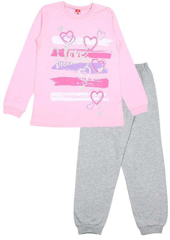 Пижама для девочки Cherubino, цвет: светло-розовый, серый. CAJ 5315. Размер 152CAJ 5315Пижама для девочки Cherubino состоит из джемпера и брюк контрастного цвета. Пижама из 100% хлопка необычайно мягкая и легкая, не сковывает движения, позволяет коже дышать и не раздражает даже самую нежную и чувствительную кожу ребенка. Джемпер с длинными рукавами и круглым вырезом горловины спереди оформлен принтом. Вырез горловины и манжеты на рукавах дополнены трикотажными эластичными резинками. Брюки прямого кроя на талии имеют эластичную резинку, благодаря чему они не сдавливают животик ребенка и не сползают. Низ брючин дополнен широкими трикотажными манжетами. Пижама станет отличным дополнением к детскому гардеробу. В ней ваш ребенок будет чувствовать себя комфортно и уютно во время сна.