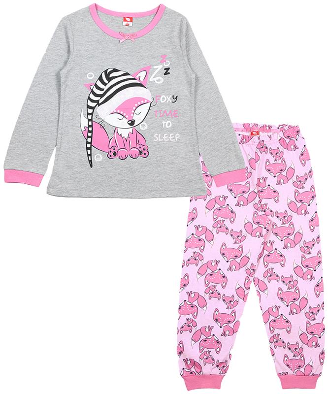 Пижама для девочки Cherubino, цвет: серый меланж. CAK 5307. Размер 104CAK 5307Пижама для девочки из тонкого трикотажа. Состоит из гладкокрашеного джемпера и набивных брючек на манжете. Джемпер декорирован принтом.