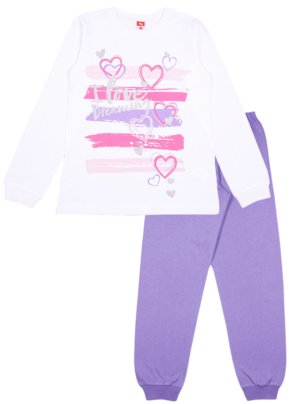 Пижама для девочки Cherubino, цвет: молочный, фиолетовый. CAJ 5315. Размер 158CAJ 5315Пижама для девочки Cherubino состоит из джемпера и брюк контрастного цвета. Пижама из 100% хлопка необычайно мягкая и легкая, не сковывает движения, позволяет коже дышать и не раздражает даже самую нежную и чувствительную кожу ребенка. Джемпер с длинными рукавами и круглым вырезом горловины спереди оформлен принтом. Вырез горловины и манжеты на рукавах дополнены трикотажными эластичными резинками. Брюки прямого кроя на талии имеют эластичную резинку, благодаря чему они не сдавливают животик ребенка и не сползают. Низ брючин дополнен широкими трикотажными манжетами. Пижама станет отличным дополнением к детскому гардеробу. В ней ваш ребенок будет чувствовать себя комфортно и уютно во время сна.