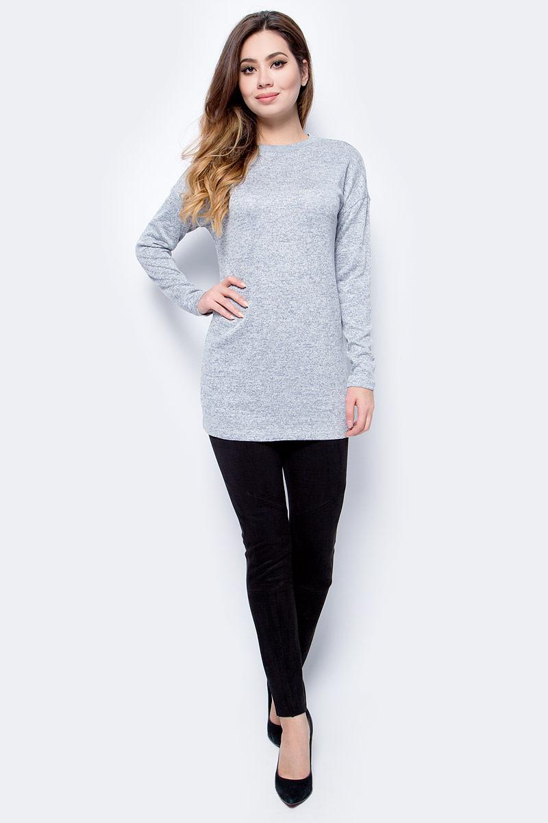 Джемпер женский Sela, цвет: светло-серый меланж. TKk-311/1211-7413. Размер XL (50) джемпер женский baon цвет серый меланж b166521 размер xl 50