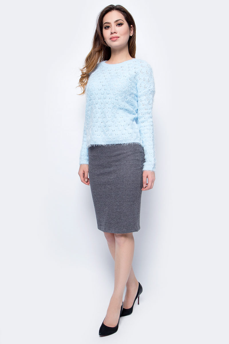 Юбка Sela, цвет: серый меланж. SKk-118/887-7413. Размер S (44)SKk-118/887-7413Стильная женская юбка от Sela выполнена из хлопкового трикотажа. Модель облегающего кроя застегивается на потайную молнию, сзади имеется шлица.