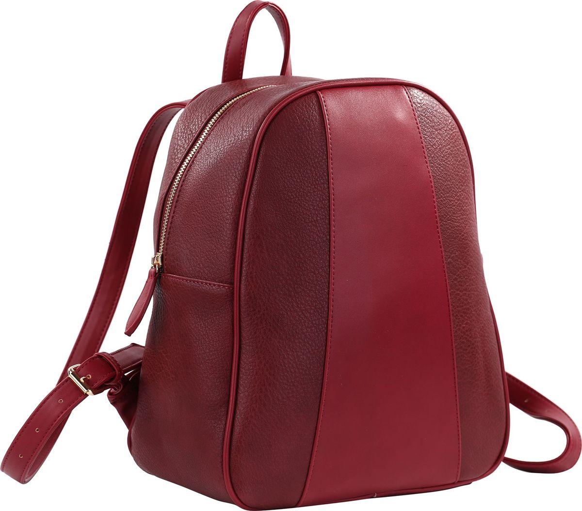 Рюкзак женский Pola, цвет: бордовый. 7832778327Стильная женская сумка-рюкзак Pola выполнена из экокожи. Декоративная вставка спереди рюкзака, лямки сумки, переносная ручка и отстрочка выполнены из материала, контрастного по цвету и фактуре основному. Имеет одно основное отделение, которое закрывается на молнию. Внутри рюкзака один карман на молнии и два открытых кармана. Сзади рюкзака также есть карман на молнии. Лямки регулируются по длине.