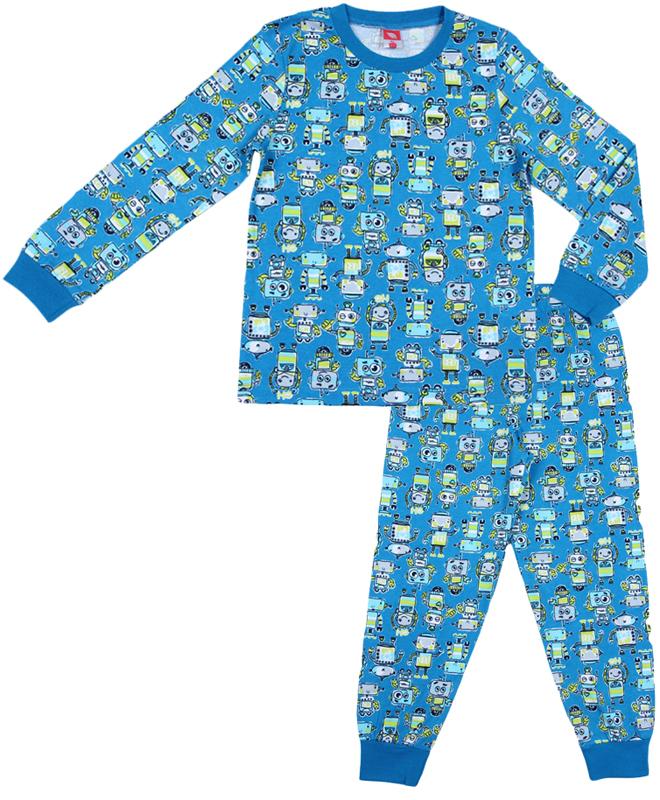 Пижама для мальчика Cherubino, цвет: синий. CAK 5321. Размер 104CAK 5321Уютная пижама для мальчика Cherubino выполнена из натурального хлопка. Футболка с длинными рукавами имеет круглый вырез горловины, оформленный трикотажной резинкой. На рукавах предусмотрены мягкие манжеты. Низ изделия дополнен широкой трикотажной резинкой. Брюки имеют эластичный пояс. Брючины дополнены манжетами. Пижама оформлена принтом.