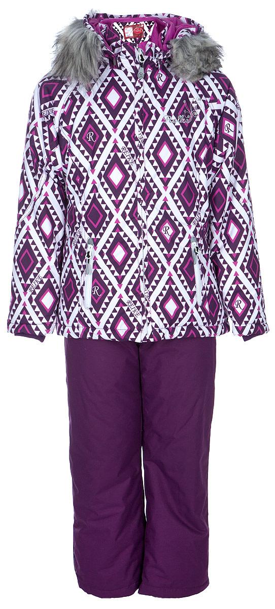 Комплект для девочки: куртка, полукомбинезон Reike, цвет: белый. 3944516_RMB white. Размер 1403944516_RMB whiteКомплект для девочки Reike состоит из куртки и полукомбинезона. Комплект выполнен из ветрозащитной, водонепроницаемой и дышащей мембранной ткани на подкладке из микрофлиса и принтованного полиэстера. Куртка дополнена съемным регулирующимся капюшоном с отстегивающейся меховой опушкой и двумя карманами на молнии. На груди декорирована светоотражающим логотипом «Reike». Внутренняя ветрозащитная планка и эластичные трикотажные манжеты в рукавах не допустят проникновения холодного воздуха. Завышенная талия брюк и регулируемые съемные подтяжки гарантируют посадку по фигуре. Низ усилен защитой от истирания. Оснащены двумя боковыми карманами на молнии и съемными штрипками. Комплект имеет множество светоотражающих деталей, снегозащитные вставки на брюках.
