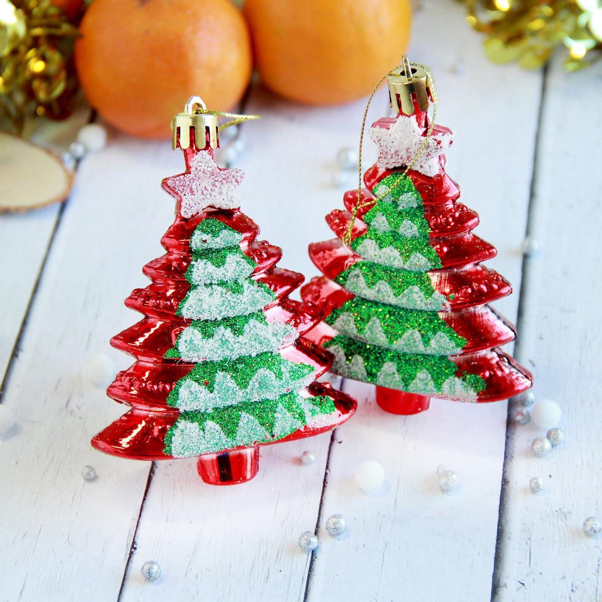 Набор новогодних подвесных украшений Елки-ступеньки, 7 х 8,5 см, 4 шт2371351Набор новогодних подвесных украшений отлично подойдет для декорации вашего дома и новогодней ели. С помощью специальной петельки украшение можно повесить в любом понравившемся вам месте. Но, конечно, удачнее всего оно будет смотреться на праздничной елке.Елочная игрушка - символ Нового года. Она несет в себе волшебство и красоту праздника. Такое украшение создаст в вашем доме атмосферу праздника, веселья и радости.