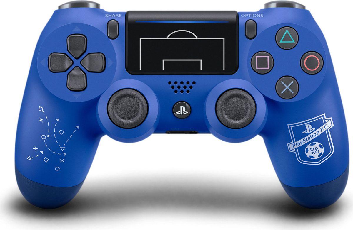 Sony DualShock 4 PS F.C. геймпад для PS41CSC20003153Беспроводной контроллер Sony DualShock 4 оснащен подсветкой тачпада, совпадающей по цвету с подсветкой тыльной стороны контроллера. Это дает геймерам новый источник информации, например, о том, за какого персонажа они играют или о его уровне здоровья.Кроме того, новый DualShock 4 поддерживает возможность подключения через USB в дополнение к уже имеющейся возможности подключения с помощью Bluethooth, что позволяет пользователям осуществлять управление через кабель.<br<brВстроенный емкостный тачпад определяет 2 точки касания. Сенсоры движения представлены шестиосевой системой отслеживания движений (трехосевой гироскоп, трехосевой акселерометр). <brОграниченное издание PlayStation F.C.<brДокажите свое превосходство на поле и за его пределами.<br