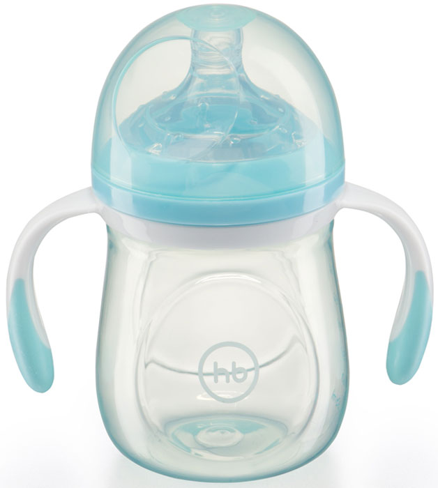 Happy Baby Бутылочка для кормления с ручками и антиколиковой силиконовой соской 180 мл 10011 BLUE бутылочка happy baby 180ml lime 10011 4650069781721
