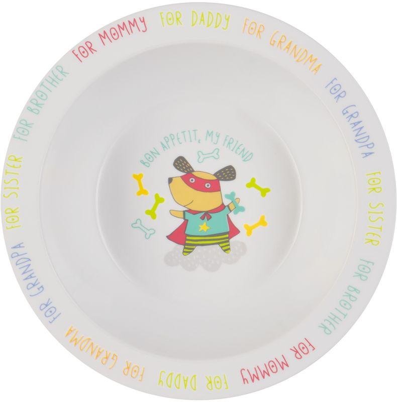 Happy Baby Тарелка глубокая для кормления 15016 DOG70230Глубокая тарелочка Happy Baby приучает малыша есть из посуды для взрослых и прекрасно подойдет для первого прикорма и самостоятельных приемов пищи. Качественный и прочный материал не позволит тарелочке разбиться при случайном падении, а широкие края делают ее более удобной для использования. Забавный рисунок на дне тарелки поможет маме заинтересовать ребенка во время кормления.Не содержит Бисфенол А.Можно использовать в СВЧ-печи и посудомоечной машине без присоски.Не оставляйте ребенка одного во время кормления. Температура еды не должна быть выше 40°С.