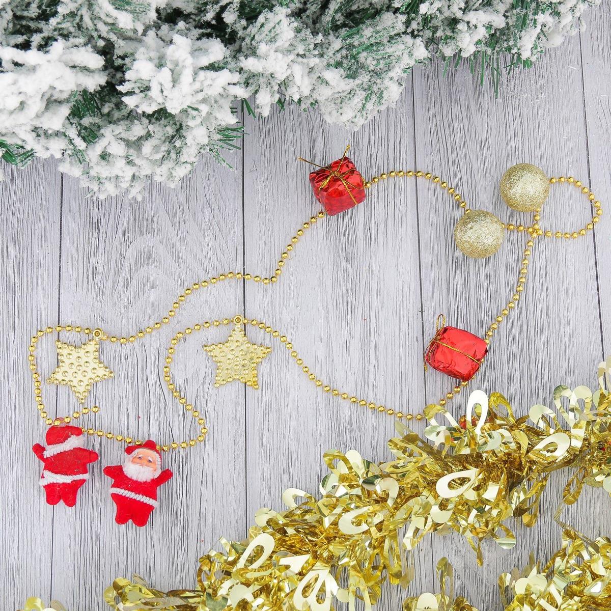 Бусы на елку Звезды, шарики, подарки, длина 90 см2371141Невозможно представить нашу жизнь без праздников! Мы всегда ждем их и предвкушаем, обдумываем, как проведем памятный день, тщательно выбираем подарки и аксессуары, ведь именно они создают и поддерживают торжественный настрой. Это отличный выбор, который привнесет атмосферу праздника в ваш дом!