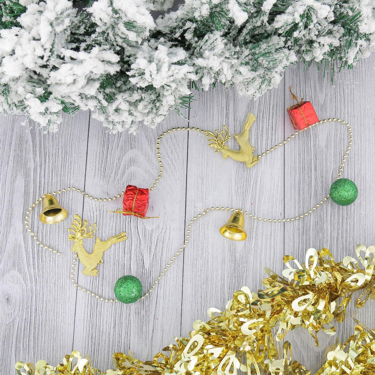 Бусы на елку NoName Шарики, подарки, олени, длина 90 см2371139Невозможно представить нашу жизнь без праздников! Мы всегда ждем их и предвкушаем, обдумываем, как проведем памятный день, тщательно выбираем подарки и аксессуары, ведь именно они создают и поддерживают торжественный настрой. Это отличный выбор, который привнесет атмосферу праздника в ваш дом!