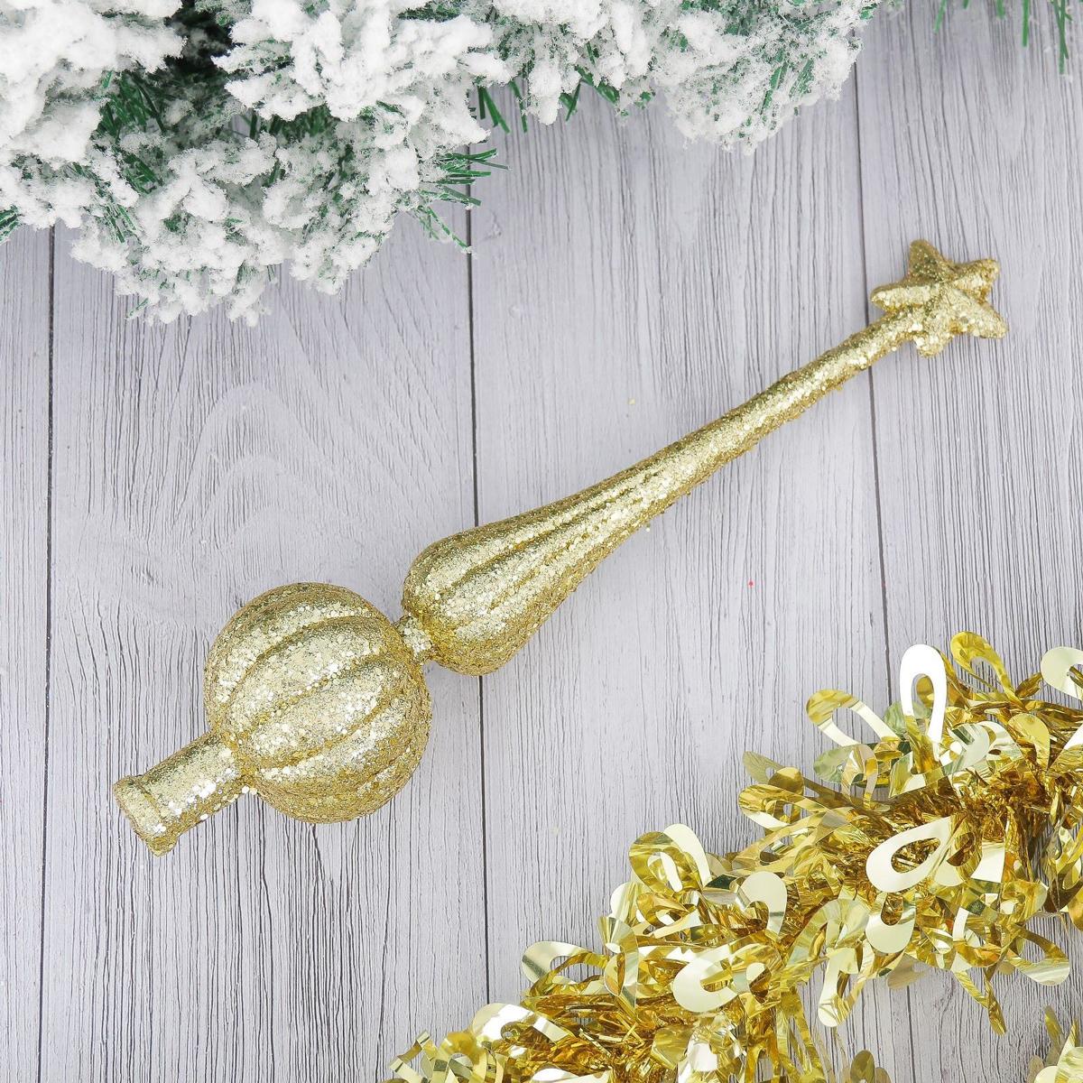 Верхушка на елку Золотая россыпь, 5 х 25 см2371119Верхушка на елку выполнена из высококачественного пластика. Изделие будет прекрасно смотреться на новогодней елке. Верхушка на елку - одно из главных новогодних украшений лесной красавицы. Она принесет в ваш дом ни с чем не сравнимое ощущение праздника! Новогодние украшения несут в себе волшебство. Они помогут вам украсить дом к предстоящим праздникам и оживить интерьер по вашему вкусу. Создайте в доме атмосферу тепла, веселья и радости, украшая его всей семьей.