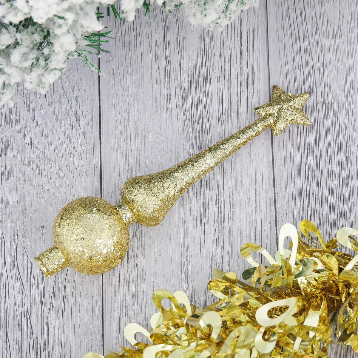 Верхушка на елку Золотая россыпь, 4 х 18 см2371116Верхушка на елку выполнена из высококачественного пластика. Изделие будет прекрасно смотреться на новогодней елке. Верхушка на елку - одно из главных новогодних украшений лесной красавицы. Она принесет в ваш дом ни с чем не сравнимое ощущение праздника! Новогодние украшения несут в себе волшебство. Они помогут вам украсить дом к предстоящим праздникам и оживить интерьер по вашему вкусу. Создайте в доме атмосферу тепла, веселья и радости, украшая его всей семьей.