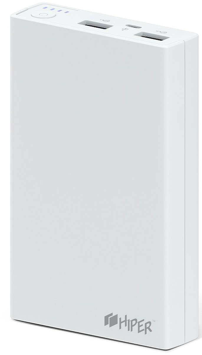 HIPER RP12500, White внешний аккумулятор (12500 мАч)1200706Портативное зарядное устройство HIPER RP12500 совместимо с различными мобильными девайсами – смартфонами, планшетами, портативными мультимедийными плеерами и другими. Гаджет оснащается двумя разъемами USB, сила тока на контактах которых равна 1 и 2,1 А соответственно.Превосходная надежность. Литий-ионная батарея способна выдержать до 500 циклов зарядки, что соответствует нескольким годам эксплуатации в нормальном режиме.Максимальное удобство. Светодиодный индикатор позволяет определить остаточный уровень заряда аккумулятора. Каждая из его четырех ламп соответствует 25 % емкости батареи.Большая емкость. Аккумулятора на 12500 мАч достаточно для 5 циклов заряда смартфона и 1-2 – современного планшетного компьютера.