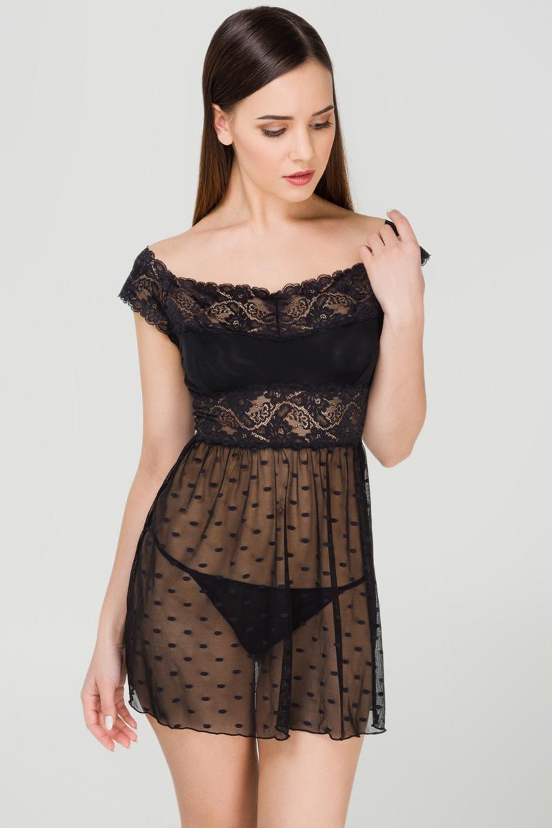 Купить Ночная рубашка женская Infinity Lingerie Rosita, цвет: черный. 31204270069_100. Размер XS (42)
