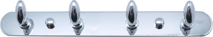 Планка с четырьмя крючками изготовлена из нержавеющей стали с покрытием из хрома.