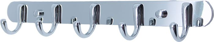 Планка с пятью крючками изготовлена из нержавеющей стали с покрытием из хрома.