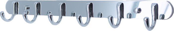 Планка для ванной Grampus, с 6 крючками, цвет: хром планка для ванной fixsen с 5 крючками цвет хром fx 1415