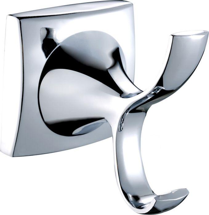 Крючок двойной выполнен из металлического сплава с покрытием из хрома.  Ширина 4,5 см, высота 5,5 см.