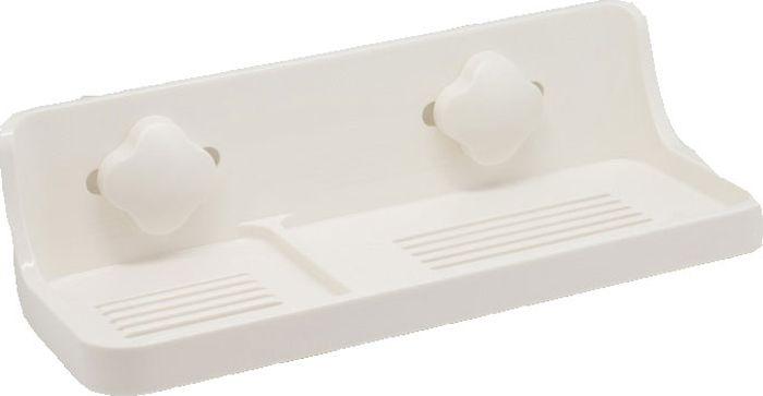 Полка для ванной Grampus, одноэтажная, цвет: белый. GR-33093309Прямоугольная полка Grampus с одним ярусом прекрасно впишется в интерьер любой ванной. Выполнена из пластика и крепится на присоски. Не занимает много места.