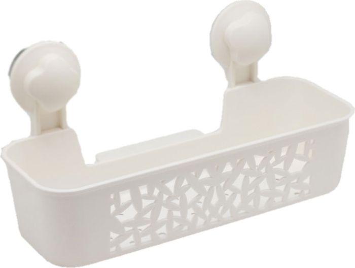 Полка для ванной Grampus, одноэтажная, цвет: белый. GR-70847084Прямоугольная полка Grampus с одним ярусом прекрасно впишется в интерьер любой ванной. Выполнена из пластика и крепится на присоски. Не занимает много места.