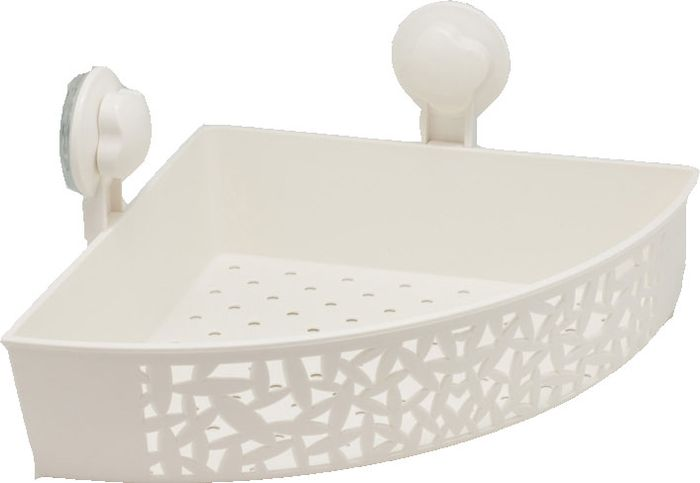 Полка для ванной Grampus, одноэтажная, угловая, цвет: белый. GR-70867086Полочка угловая одноэтажная