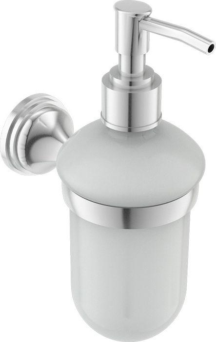 """Настенный дозатор жидкого мыла Grampus """"Coral"""" изготовлен из стекла и латуни. Продукция, изготовленная из латуни, характеризуется долговечностью, изделия не поддаются коррозии.Аксессуар выполнен в изысканном классическом стиле, он украсит интерьер ванной комнаты."""