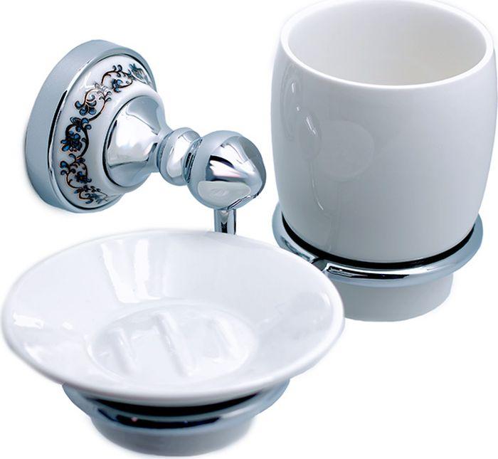 Мыльница Fixsen Bogema, с подстаканником для ванной, цвет: хром fixsen bogema gold fx 78506g